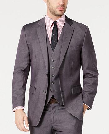 Мужской портфель Slim-Fit Stretch Серый пиджак Windowpane Perry Ellis