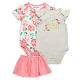 Комплект боди и юбки из 3 предметов для маленьких девочек Juicy Couture