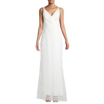 Платье с драпированным V-образным вырезом Carmen Marc Valvo Infusion