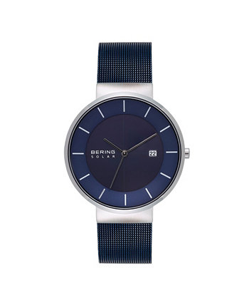Мужские часы с синим браслетом из нержавеющей стали на солнечной энергии, 39 мм Bering