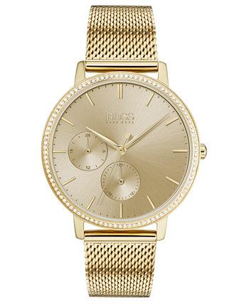 Женские ультратонкие часы Infinity с золотым ионным покрытием из нержавеющей стали с сетчатым браслетом, 35 мм HUGO BOSS