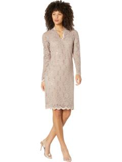 Короткое платье из эластичного кружева с длинными рукавами MARINA