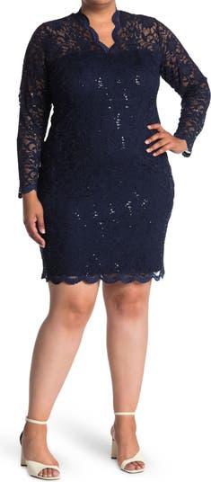 Платье из эластичного кружева с гребешком MARINA