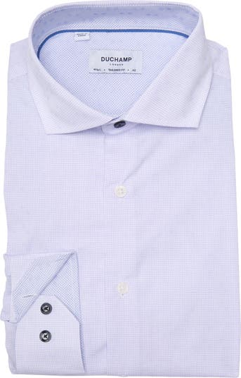 Тканая приталенная классическая рубашка с принтом DUCHAMP