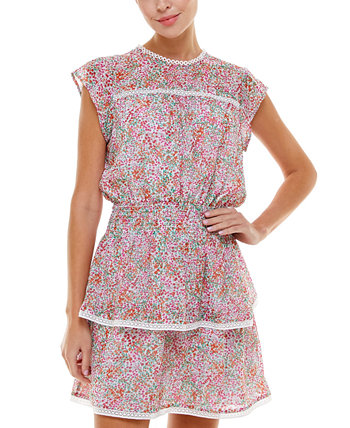 Платье со сборками и принтом Q & A