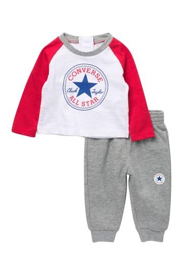 Футболка с регланом и джоггеры с логотипом (для мальчиков 6-9 месяцев) Converse