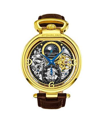 Мужские коричневые часы с кожаным ремешком 46мм Stuhrling
