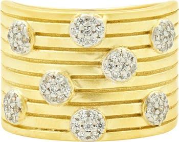 Кольцо из стерлингового серебра с покрытием из желтого золота 585 пробы, широкое многослойное кольцо с паве CZ Freida Rothman