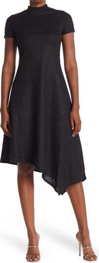 Mock Neck Short Sleeve High/Low Dress Vanity Room