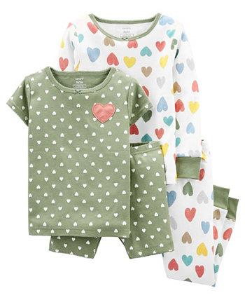 Хлопковая пижама с сердечками для маленьких девочек, комплект из 4 предметов Carter's