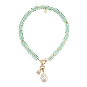 Канкун 20MM White Pearl & amp; Стеклянное ожерелье из бисера DANNIJO