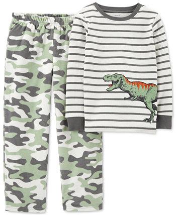 Маленькие мальчики 2-шт. Пижамный комплект из плотного кроя с верхом в виде динозавра и камуфляжными флисовыми штанами Carter's