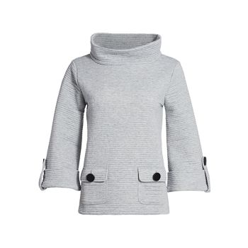 Пуловер с воротником-стойкой в рубчик в пуговицу Joan Vass
