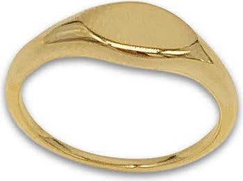 Кольцо-печатка из желтого золота 14 карат с вермеилом ADORNIA