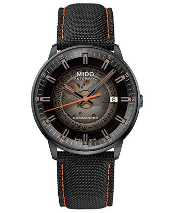 Мужские швейцарские автоматические часы Commander с черным тканевым ремешком 40 мм с градиентом MIDO