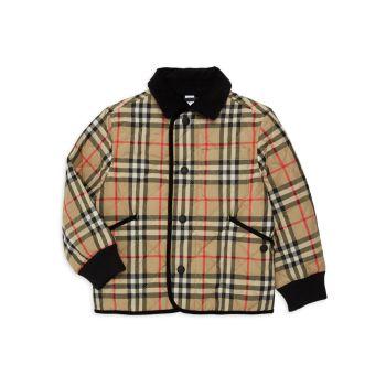 Little Kid's & amp; Стеганая куртка в клетку Kid's Culford Archive Burberry