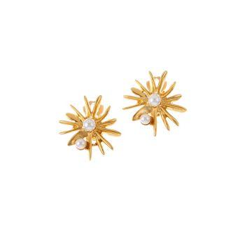 Классические клипсы со звездами Swarovski с кристаллами и жемчугом Oscar de la Renta