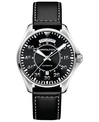 Мужские швейцарские автоматические часы цвета хаки Pilot с черным кожаным ремешком, 42 мм Hamilton