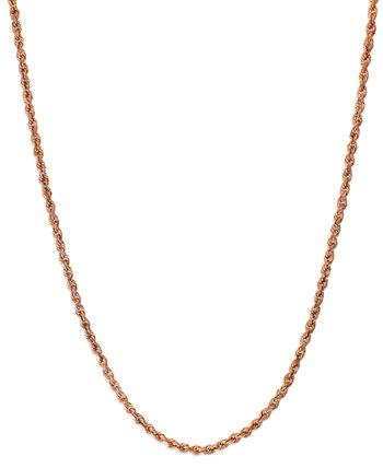 Ожерелье с веревочной цепочкой 24 дюйма (1-3 / 4 мм) из розового золота 585 пробы Italian Gold