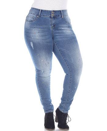 Голубые джинсовые джинсы для женщин больших размеров с эффектом краски White Mark