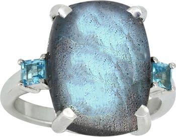 Кольцо из стерлингового серебра с лабрадоритом и лондонским голубым топазом Nitya