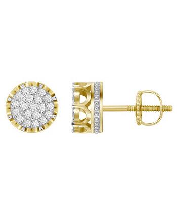 Мужские серьги с бриллиантами (1 карат) из желтого золота 10 карат Macy's