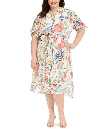 Рубашка большого размера с цветочным принтом Calvin Klein