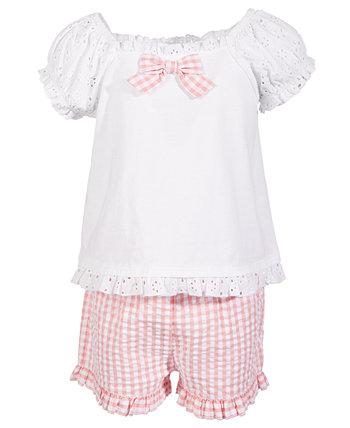 Малыши для девочек 2 шт. Комплект с кружевным верхом и шортами в мелкую клетку, созданный для Macy's First Impressions