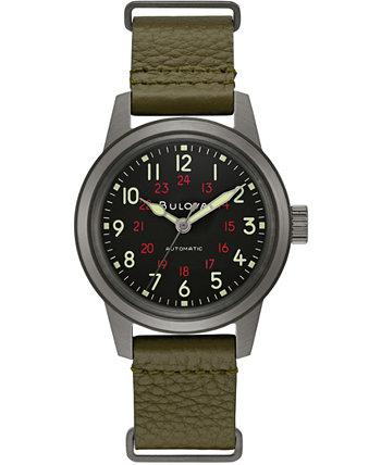 Мужские автоматические военные зеленые кожаные часы с ремешком 38мм Bulova