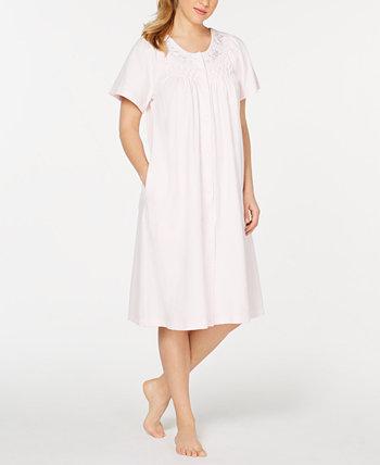 Цветочная вышивка вафельно-вязаный халат Miss Elaine