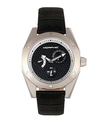 Серия M46, серебряный корпус, черные кожаные мужские часы с датой, 44 мм Morphic