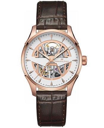 Мужские швейцарские автоматические часы Jazzmaster с коричневым кожаным ремешком 40 мм Hamilton