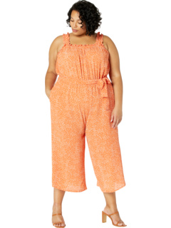 Plus Size Speckled Spray Printed Crepe Jumpsuit London Times