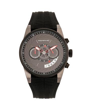 Кварцевые M72 серии, MPH7206, черный / угольный хронограф, силиконовые часы 43MM Morphic