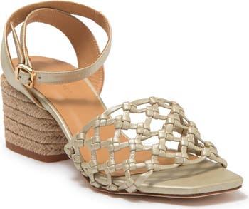 Сандалии-эспадрильи на блочном каблуке из плетеной кожи с эффектом металлик Paloma Barcelo