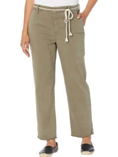 Relaxed Stretch Twill Trousers w/ Fray Hem & Belt NYDJ