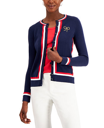 Кардиган в полоску с вышивкой Petite, созданный для Macy's Charter Club