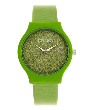 Мужские блестящие зеленые ремешки из искусственной кожи 36мм Crayo