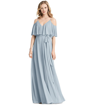 Макси-платье с открытыми плечами и оборками Jenny Packham