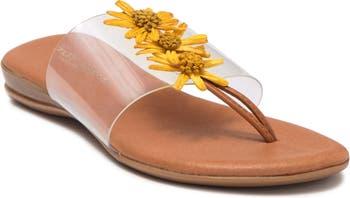 Nadine Raffia Daisy Flip-Flop Sandal Andre Assous