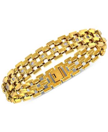 Мужской браслет из звеньев с бриллиантами (1/4 карата) из нержавеющей стали с ионным покрытием желтого цвета Macy's