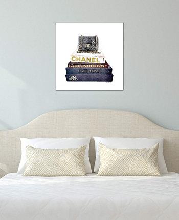 """""""Стопка модных книг с сумкой Chanel"""" от Аманды Гринвуд, холст, завернутый в галерею (18 x 18 x 0,75) ICanvas"""