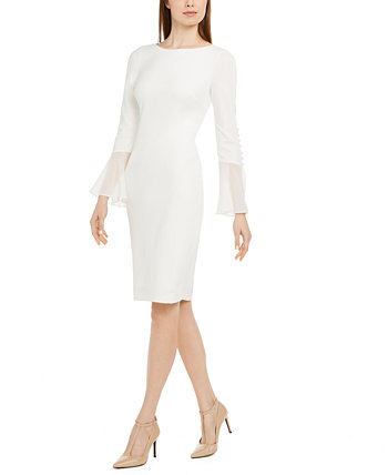 Платье-футляр из шифона с белыми рукавами, миниатюрное и регулярное Calvin Klein
