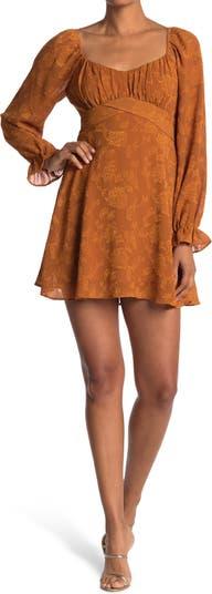Floral Jacquard Burnout Long Sleeve Mini Dress KENEDIK