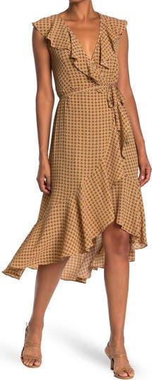 Платье миди с запахом и оборками с рисунком Max Studio