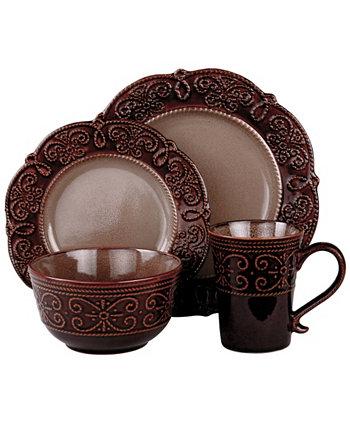 Набор столовой посуды с двойной чашей Naina из 16 предметов Laurie Gates