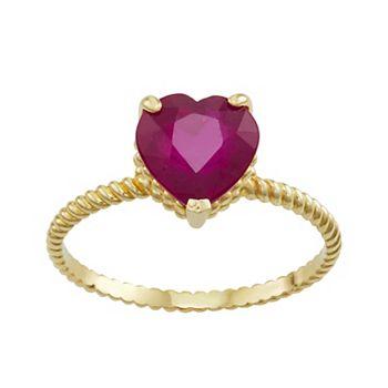 10k Gold Ruby Twist Ring Tiara