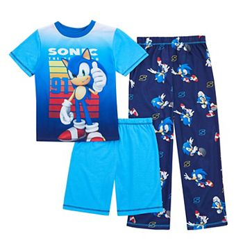 Boys 4-12 Sonic the Hedgehog Top, Shorts & Pants Pajama Set Licensed Character