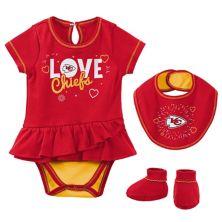 Newborn & Infant Red Kansas City Chiefs Play Your Best Bodysuit, Bib & Booties Set Outerstuff