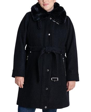 Куртка большого размера с воротником из искусственного меха Michael Kors